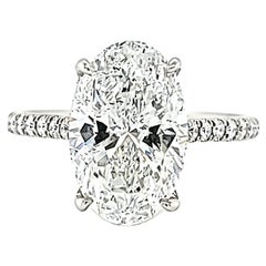 Louis Newman & Co GIA Certified 3.62 Carat Oval Diamond Ring