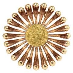 Cartier 18K Rose Gold Coin 1950's Vintage Brooch