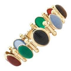14 Karat Yellow Gold Carved Scarab Bracelet