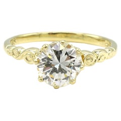 GIA Certified 1.05 Carat Round Brilliant Diamond Yellow Gold Engagement Ring