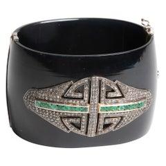 Bakelite Diamond and Emerald Cuff or Clamper Bracelet in Art Deco Design