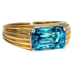7.43ct Natural Indigo Blue Zircon Ring 18kt