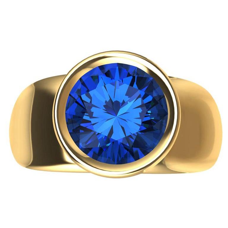 For Sale: undefined 18 Karat Yellow Gold Round Blue Sapphire 2.69 Carat Sculpture Ring