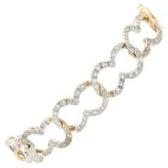 14 Karat Two Tone Diamond Open Link Bracelet