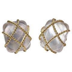 Seaman Schepps Clear Crystal Clip on Earrings