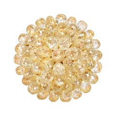 20 Carat Fancy Yellow Briolette and Diamond Ring by Jupiter Rain