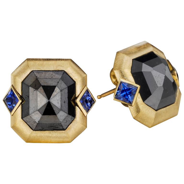 Naomi Sarna Blue Sapphire Black Diamond Gold Earrings