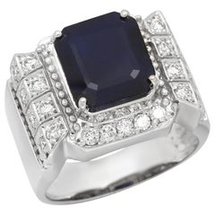 6.30 Carats Natural Blue Sapphire & Diamond 14K Solid White Gold Men's Ring