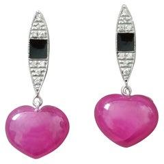 14k Gold Art Deco Style Heart Shape Rubies Diamonds Black Enamel Dangle Earrings