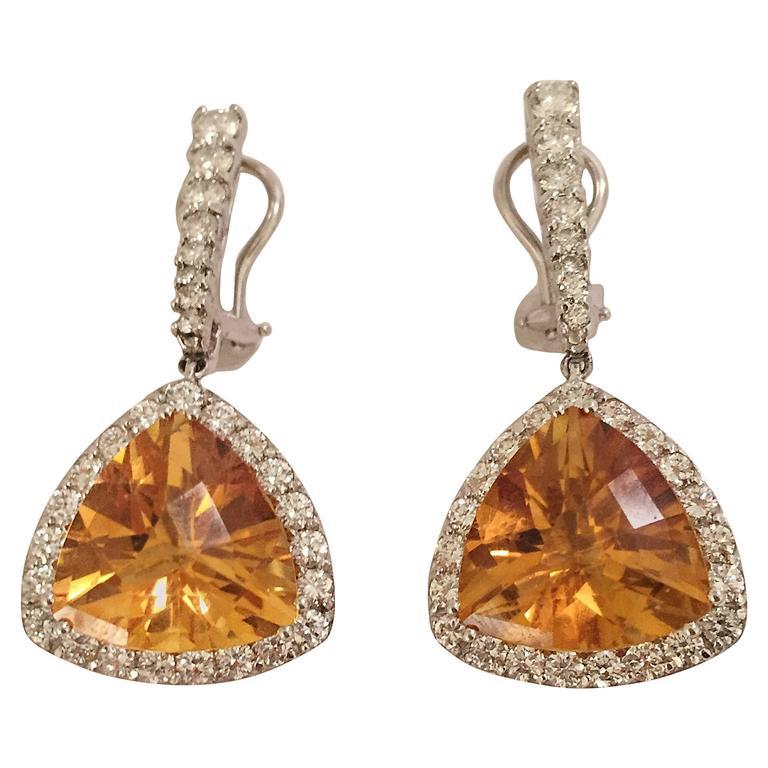 Elegant Citrine Diamond Gold Hanging Earrings