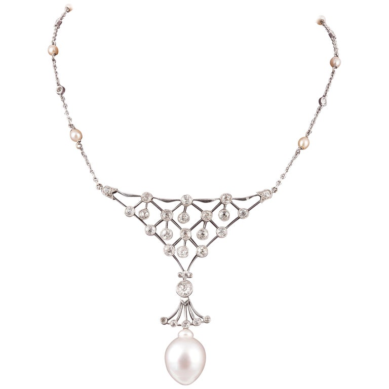 Retro White Gold Old Cut Diamond and South Sea Pearl Necklace For Sale