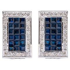18 Karat White Gold 4.58 Carat Sapphire and Diamond Cluster Stud Earrings