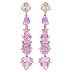 18 Karat Rose Gold 20.70 Carat Pink Sapphire and Diamond Cocktail Drop Earrings