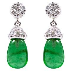 18 Karat White Gold 3.80 Carat Natural Emerald and Diamond Drop Earrings