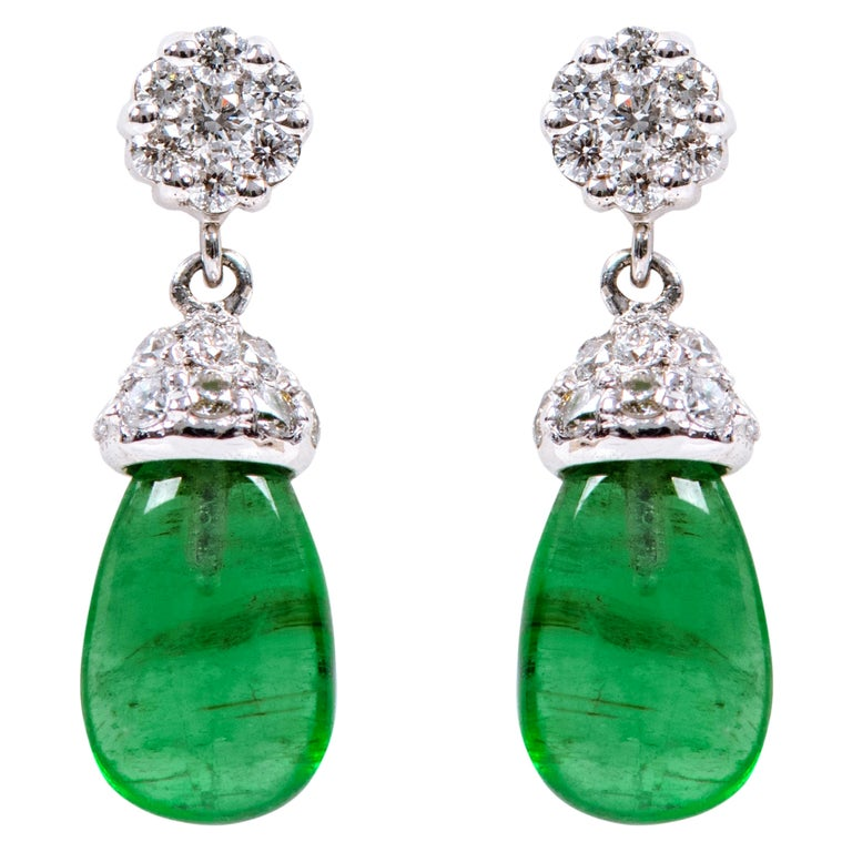 18 Karat White Gold 3.80 Carat Natural Emerald and Diamond Drop Earrings For Sale