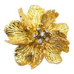 Vintage Boucheron 18K Gold 0.5 Carat Diamond Flower Brooch