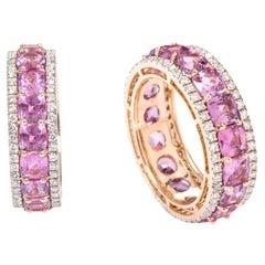 18 Karat Rose Gold 6.82 Carat Pink Sapphire and Diamond Eternity Band Ring