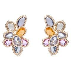 18 Karat Gold 13.56 Carat Multi-Sapphire and Diamond Cocktail Stud Earrings
