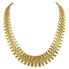 Retro 18K Gold Collar Necklace, circa 1960