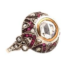 Art Deco 0.8 Carat Rosecut Diamond and Ruby Solitaire Ring, circa 1920