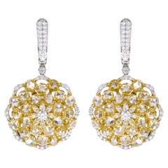 18 Karat Gold 8.69 Carat Yellow and White Diamond Drop Cocktail Earrings