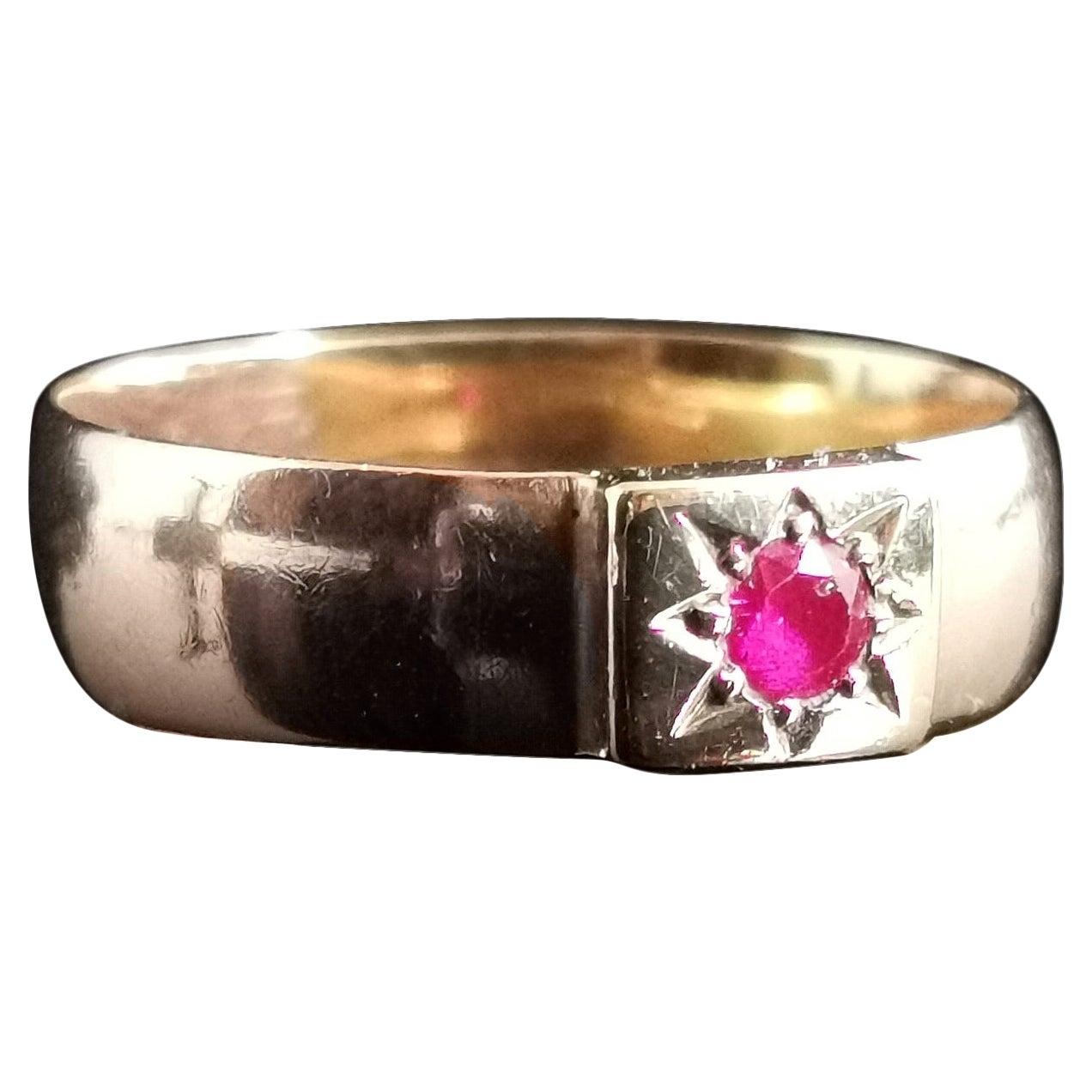 Antique Ruby Band Ring, 9 Karat Yellow Gold