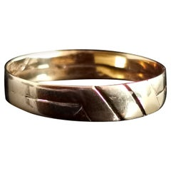 Antique Victorian 18 Karat Yellow Gold Band Ring, Geometric, Wedding Band