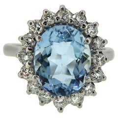 1970's Vintage Aquamarine and Diamond Cluster Ring, 18ct White Gold