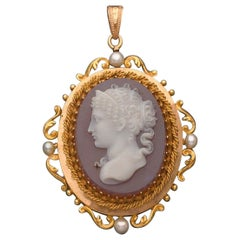 Antique French Agate Cameo Pendant