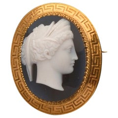 Antique French Agate Cameo Brooch, Circa 1870's