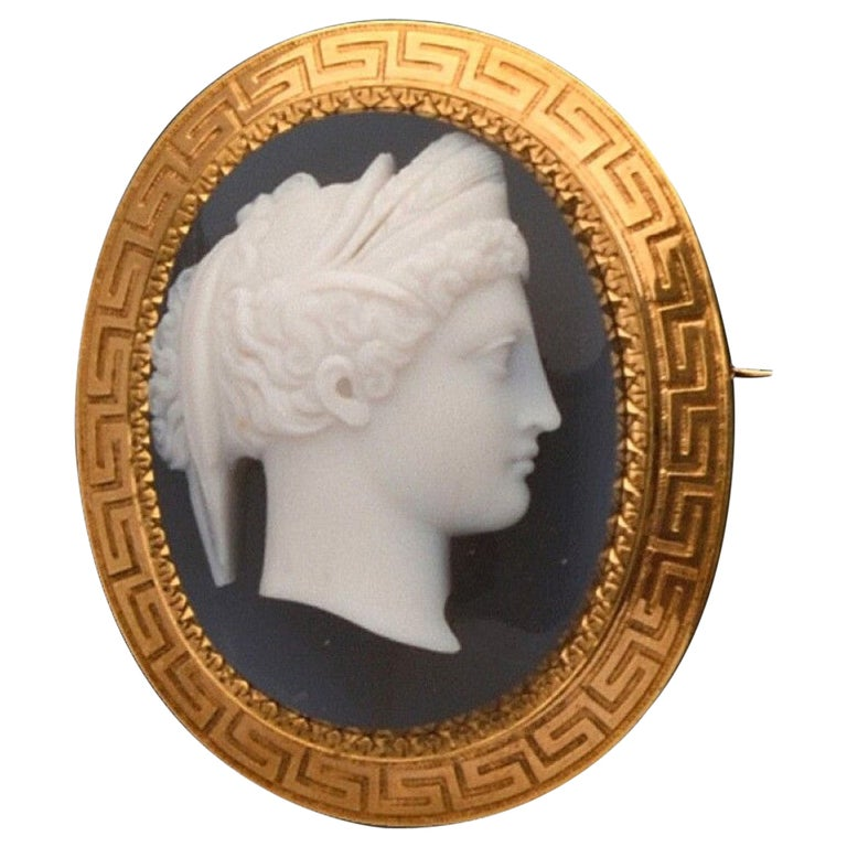 Antique French Agate Cameo Brooch, Circa 1870's For Sale