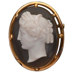 Antique French Agate Cameo Brooch