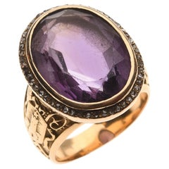 Antique French 18kt Gold Diamond And Amethyst Episcopal Ring