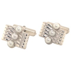 Mikimoto Estate Akoya Pearl Cufflinks Sterling Silver