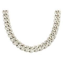 10 Karat White Gold Diamond Cuban Link Chain