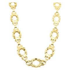 18 Karat Yellow Gold Ornate Link Necklace