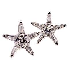 18k White Gold Diamond Star Stud Earring