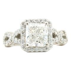 Platinum 2.01ct Radiant Cut Diamond Engagement Ring