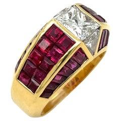 Quadrillion Invisibly Set Diamond 1.36Ct & Ruby 4.31Ct Ring