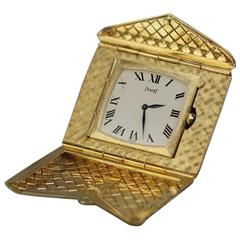 Piaget Yellow Gold Woven Envelope Travel Clock