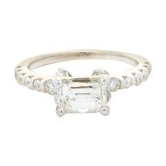 18 Karat White Gold 1.01ct Emerald Cut Diamond Engagement Ring