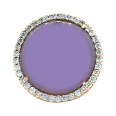 Roberto Coin 18 Karat Rose Gold Cabochon Cut Amethyst and Diamond Cocktail Ring