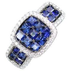 Sapphire Diamond White Gold Cocktail Ring