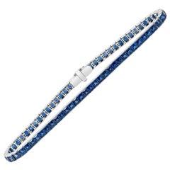Roman Malakov, 9.12 Carat French Cut Blue Sapphire Tennis Bracelet