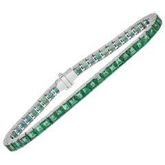 Roman Malakov, 11.08 Carat Square Cut Emerald Tennis Bracelet