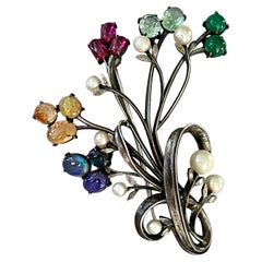 Vintage 1940's-1950's Black Opal, Mexican Opal, Ruby, Pearl and Onyx Brooch