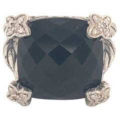 David Yurman Estate Onyx Diamond Ring Sterling Silver 8.4 Grams