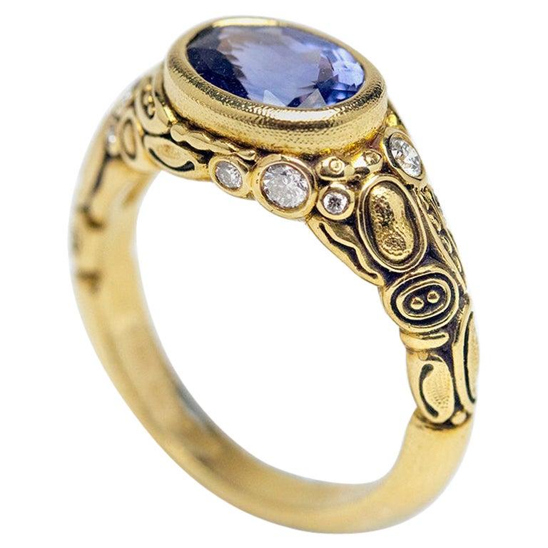 Alex Sepkus Blue Violet Sapphire and Diamond 18K Gold Cocktail Ring 2.30 Carat For Sale