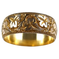 18ct Yellow Gold Foliate Engraved Keeper Ring, 1920