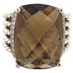 David Yurman Estate Smoky Topaz Diamond Ring Sterling Silver